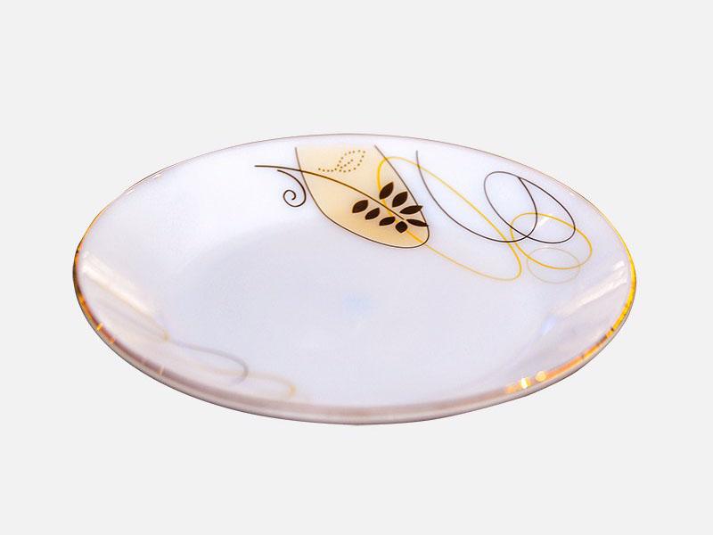 Đĩa Nông Thủy Tinh Opal 10 Inch Vẽ Hoa