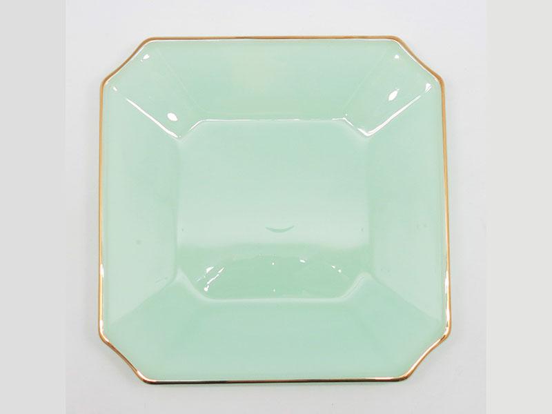 Đĩa Vuông Thủy Tinh Opal 9 Inch Xanh Ngọc