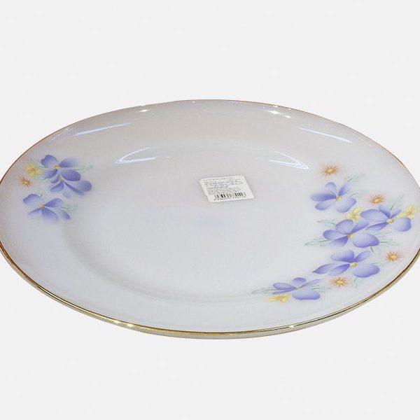Đĩa Nông Thủy Tinh Opal Đại Hoa Kẻ Viền