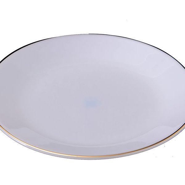 Đĩa Nông Thủy Tinh Opal 8 Inch Kẻ Viền Vàng