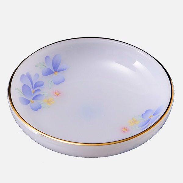 Đĩa Tương Thủy Tinh Opal Kẻ Viền Vàng