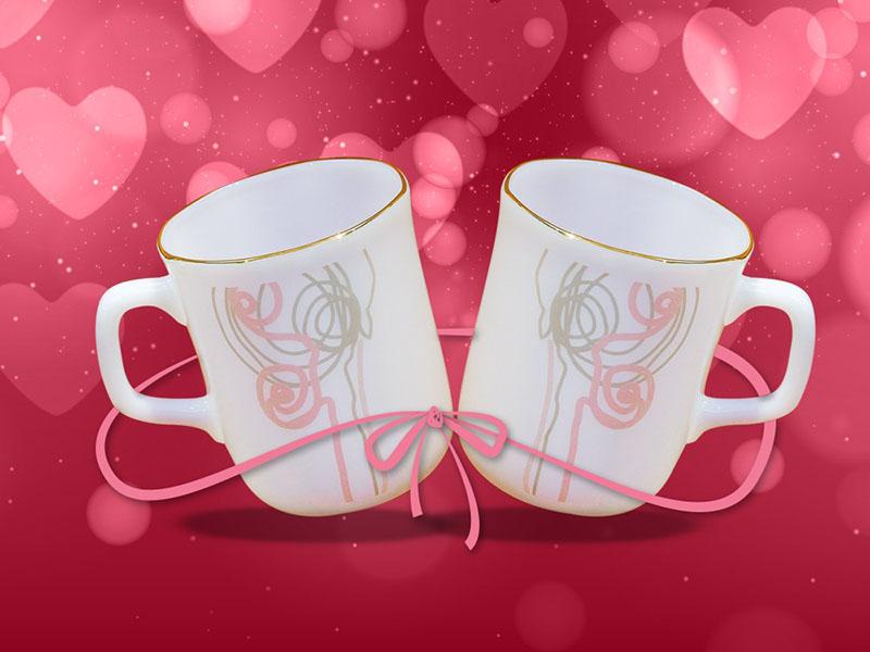 Bộ Đôi Cốc Thuỷ Tinh Ngọc Pink Line Dazzle - Hoa Dây Huyền Bí