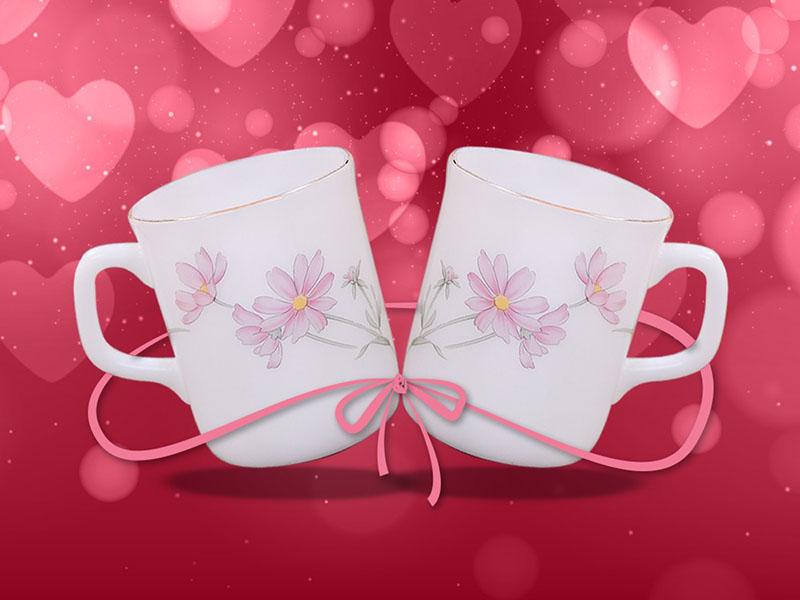 Bộ đôi cốc Thuỷ Tinh Ngọc hoa hồng