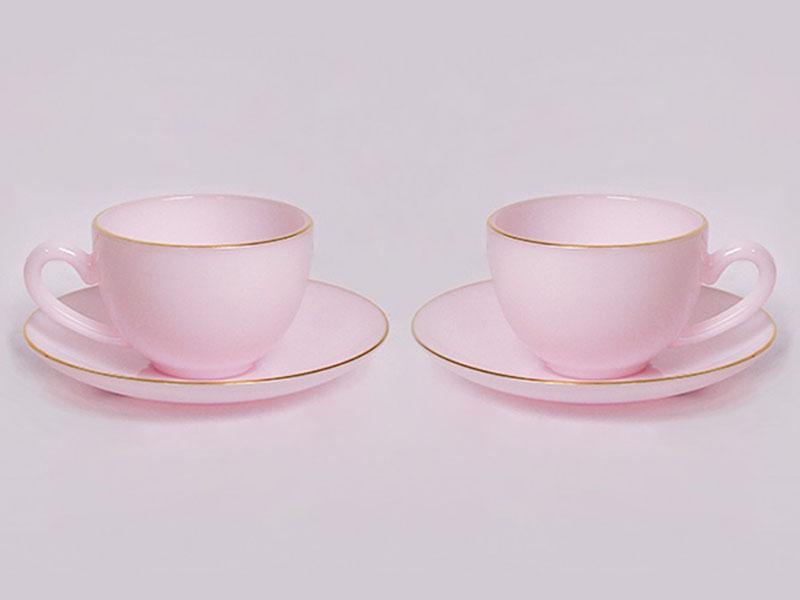 Bộ Đôi Tách Đĩa Caffe Hồng Ngọc Ruby