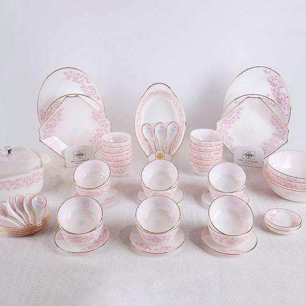Bộ Đồ Ăn Thủy Tinh Opal 62 Sản Phẩm Họa Tiết Hoa