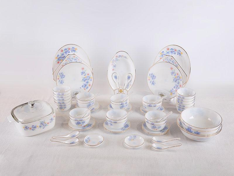 Bộ Đồ Ăn Thủy Tinh Ngọc Opal 62 Sản Phẩm Vẽ Hoa