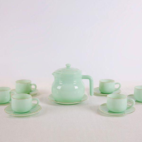 Bộ Caffe 14 Món Màu Xanh Ngọc Lục Bảo