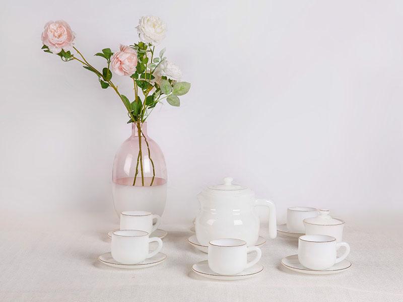 Bộ Cafe 15 Món Họa Tiết Hoa Trắng