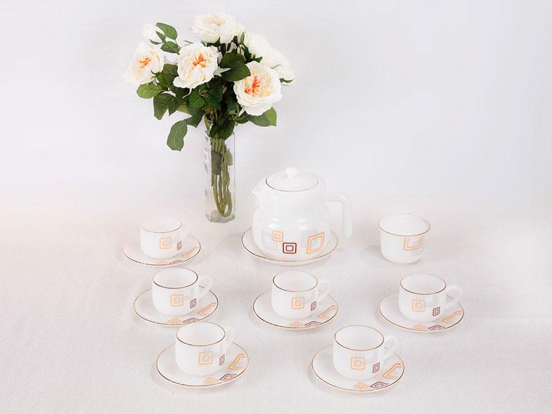 Bộ Cafe 15 Món Họa Tiết Hoa Vuông