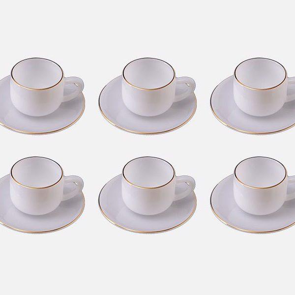 Bộ Tách Caffe Dáng Thẳng Hoa Màu Trắng