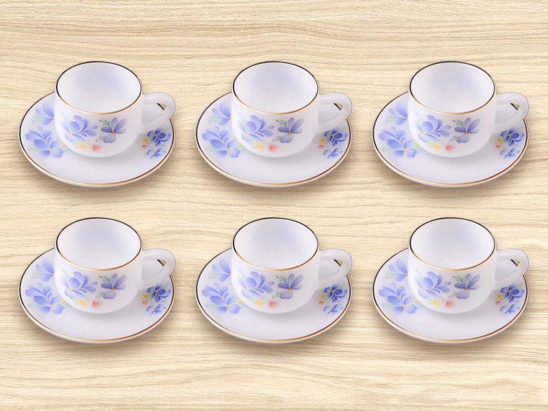 Bộ tách trà nhỏ dáng thẳng Hoa màu xanh