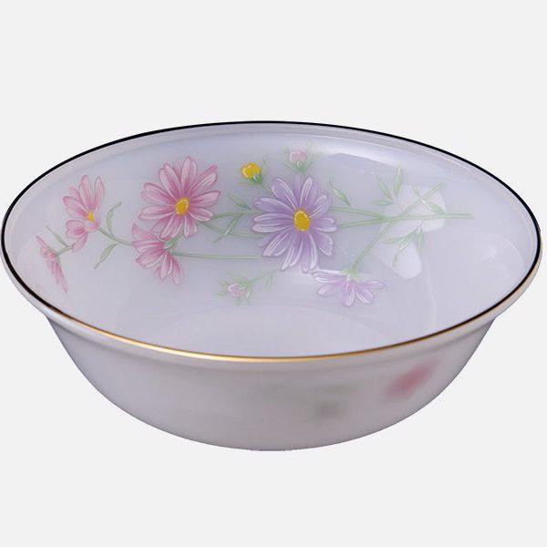 Tô Loe Thủy Tinh Ngọc 8 Inch Vẽ Hoa