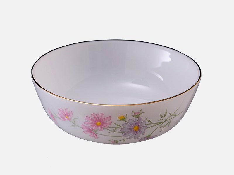 Tô Sâu Thủy Tinh Opal 8 Inch Vẽ Hoa